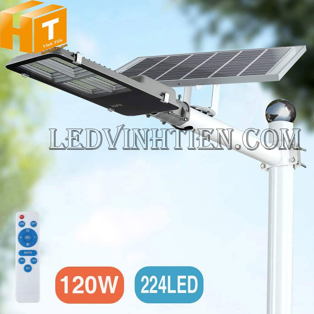 Đèn đường led năng lượng mặt trời 120W pin rời loại tốt, giá rẻ, ngoài trời, không tốn điện