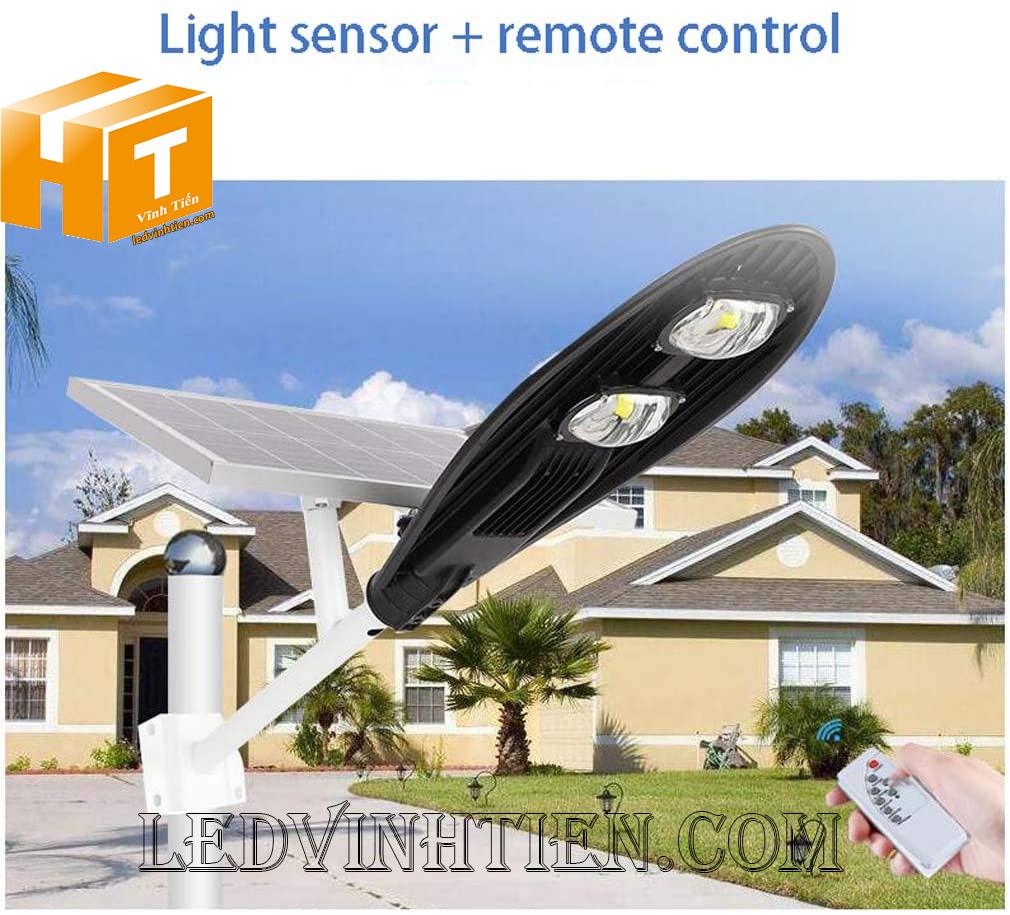 Đèn đường led năng lượng mặt trời 100W chiếc lá, giá rẻ, Ledvinhtien.com