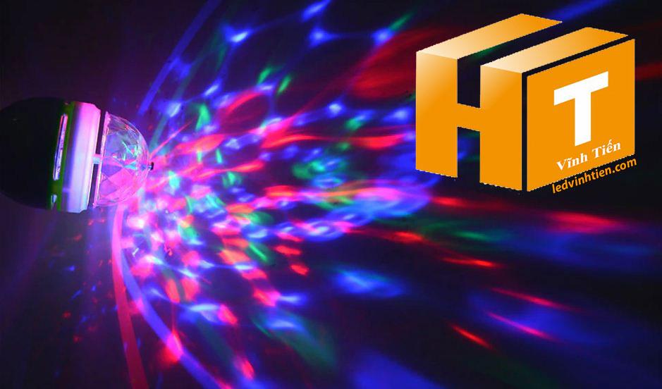 Đèn cầu xoay 6W đuôi vặn giá rẻ, nháy theo nhạc, Ledvinhtien.com