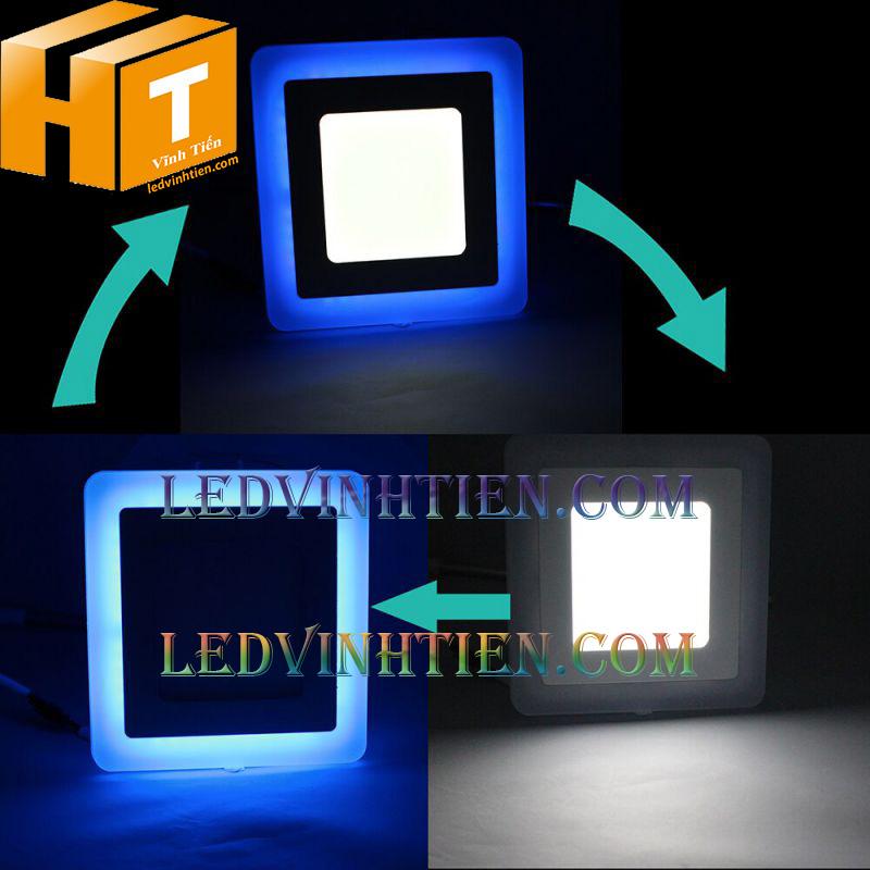 Đèn led âm trần vuông 8+4w viền xanh dương loại tốt