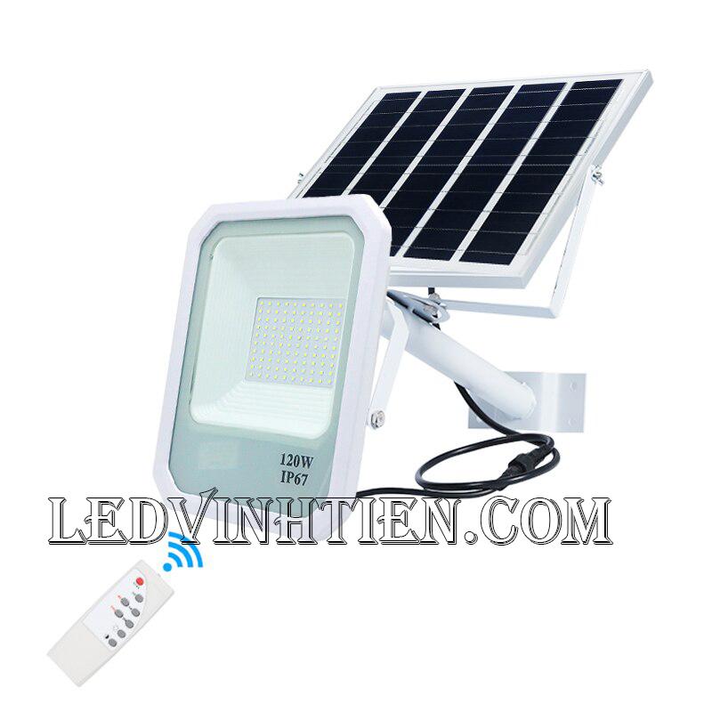 Đèn pha năng lượng mặt trời 120W (Đèn pha năng lượng mặt trời 120W VTHT-PNLMT-004). sử dụng năng lượng mặt trời chiếu sáng từ 3-5 năm không lo tốn tiền điện,  hiêu JINDIAN, Thời gian chiếu sáng đến 10-12 giờ liên tục,  Đèn có tính năng tự động bật khi trời tối và tắt khi trời sáng.  Lắp đặt dễ dàng, phù hợp mọi địa hình,  Thắp sáng suốt đêm, tránh xa sự dòm ngó của trộm cắp  Kèm theo điều khiển bật/tắt từ xa và chế độ hằng giờ hiện đại giúp cuộc sống của bạn dễ dàng và tiện lợi hơn bao giờ hết.  Tấm pin công nghệ Poly, tuổi thọ lên đến 10-12 năm. Thích hợp lắp đặt trong nhà, các ki ốt, nhà hàng, trên tàu thuyền. sản phẩm đèn năng lượng dùng ngoài trời, loại tốt, giá rẻ, chất lượng, siêu sáng, cảm úng chuyển động, chính hãng ledvinhtien.com