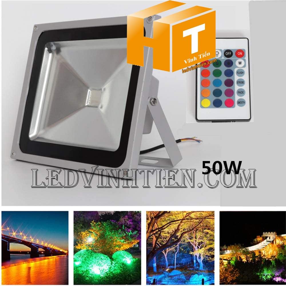 Đèn pha led 50w RGB remote