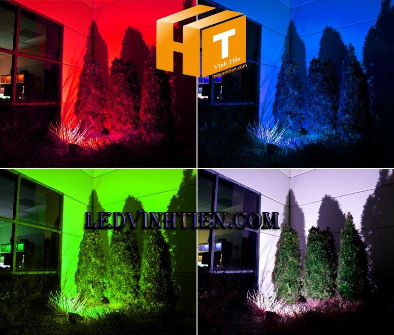 Đèn pha led 50w RGB có remote, vỏ xám loại tốt, giá rẻ, ngoài trời, có 16 màu, dùng chiếu sáng banner, bảng hiệu quảng cáo ngoài trời, ledvinhtien.com
