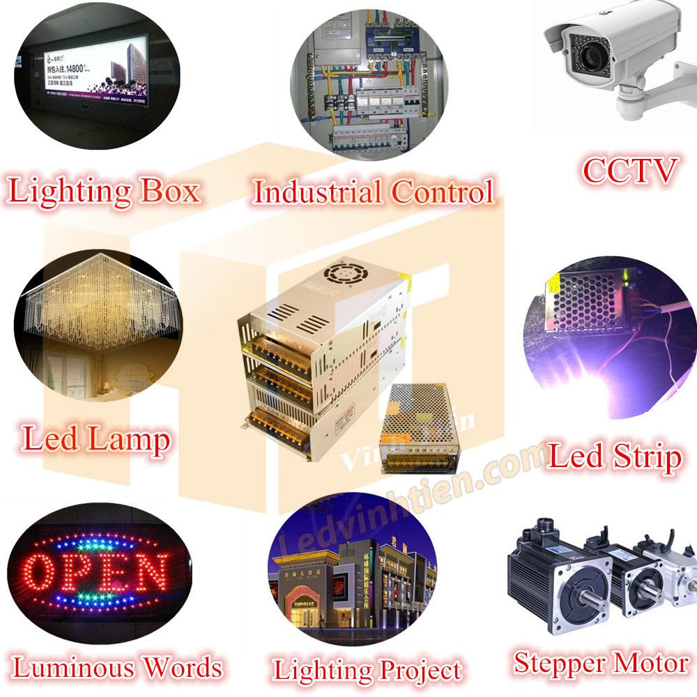 ứng dụng của bộ nguồn và Cách đấu nối bộ nguồn cho đèn led, cách thiết bị khác tương tự