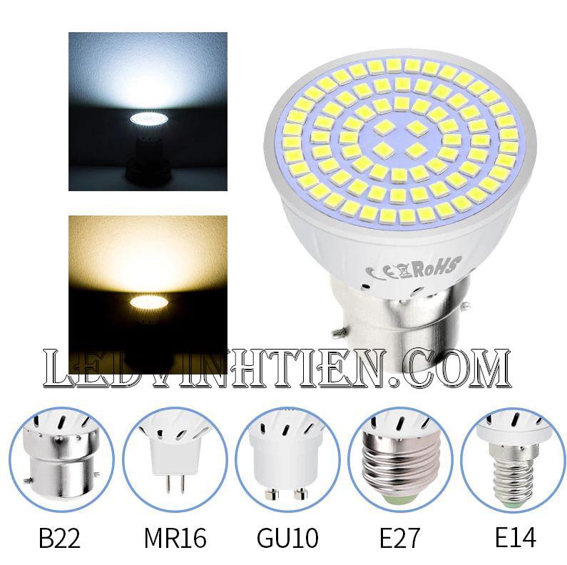 Bóng chén 2W đui vặn MR16, GU10, GU5.3, E14, E27 loại tốt, giá rẻ, ánh sáng đẹp, chất lượng, chính hãng ledvinhtien.com