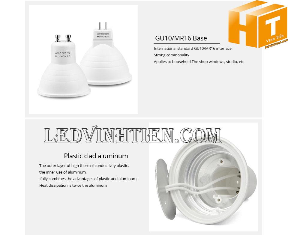 Bóng led ghim 7W, đèn led cốc loại tốt, giá rẻ, đui MR16, GU10, GU5.3, E14, E27, chính hãng ledvinhtien.com