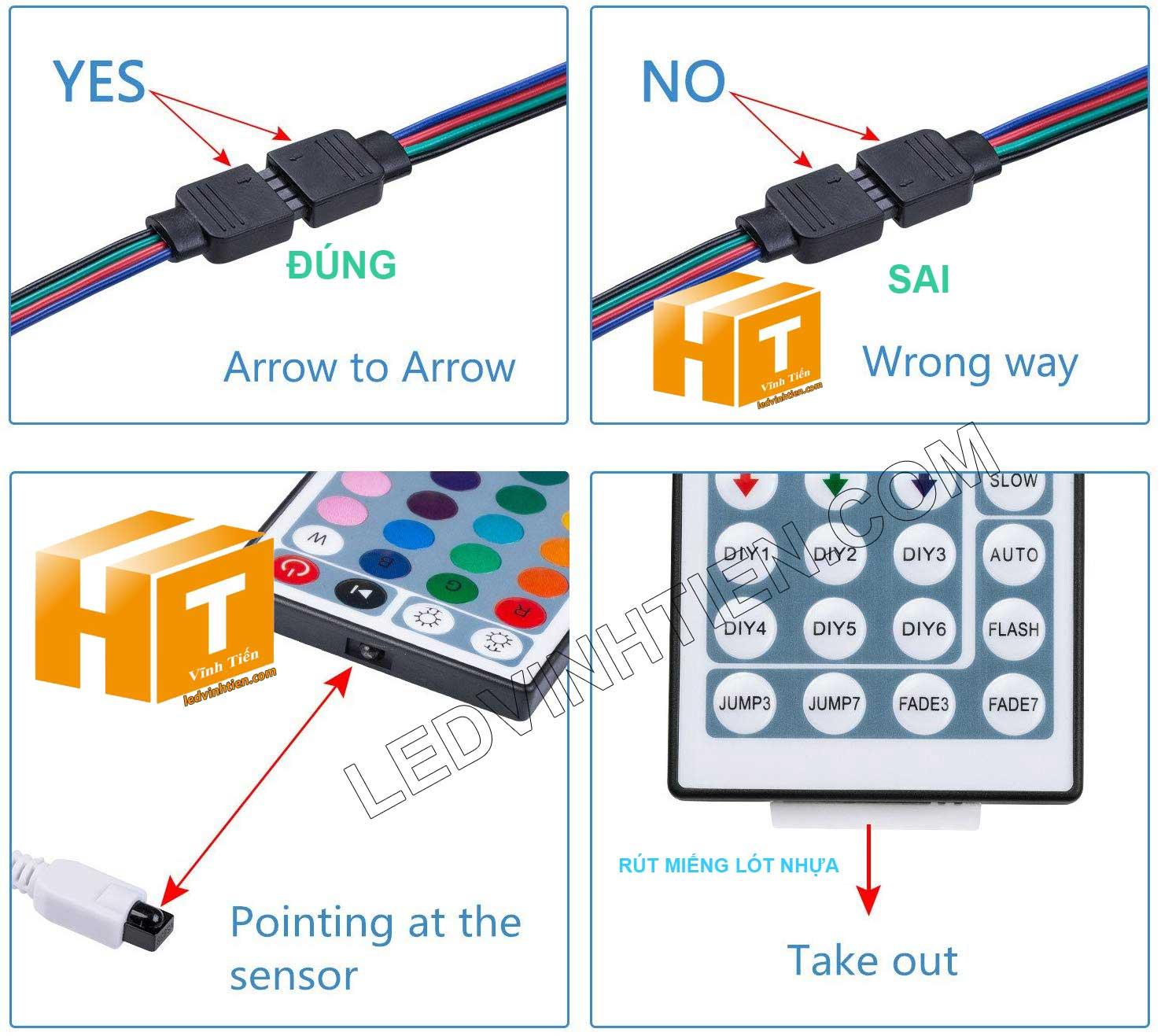 cách bước đấu nối đối với bộ điều khiển led dây 12v rgb, Hướng dẫn cách cài đặt, lắp ráp, đấu nối, cắt dây led cuộn 5m sao cho an toàn, thẩm mỹ nhưng không bị hư những dãi led còn lại, ledvinhtien.com