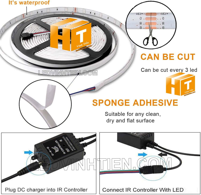 các bước thứ tự sao cho đúng khi đấu nối led, Hướng dẫn cách cài đặt, lắp ráp, đấu nối, cắt dây led cuộn 5m sao cho an toàn, thẩm mỹ nhưng không bị hư những dãi led còn lại, ledvinhtien.com