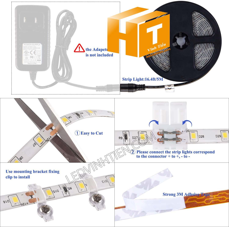 Hướng dẫn cách cài đặt, lắp ráp, đấu nối, cắt dây led cuộn 5m sao cho an toàn, thẩm mỹ nhưng không bị hư những dãi led còn lại, ledvinhtien.com
