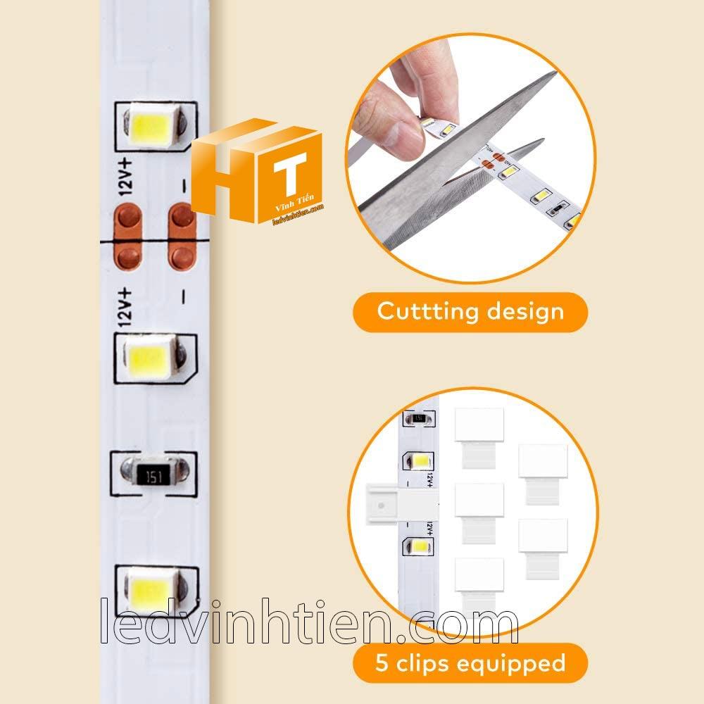 cắt dây led  tại địa điểm có hình cái kéo như hình, Hướng dẫn cách cài đặt, lắp ráp, đấu nối, cắt dây led cuộn 5m sao cho an toàn, thẩm mỹ nhưng không bị hư những dãi led còn lại