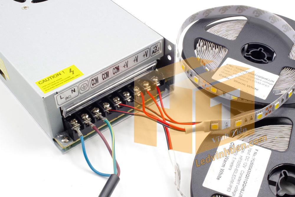 dùng nguồn tổng cấp cho các cuộn led dây đối với số lượng từ 10m trở lên, Hướng dẫn cách cài đặt, lắp ráp, đấu nối, cắt dây led cuộn 5m sao cho an toàn, thẩm mỹ nhưng không bị hư những dãi led còn lại, ledvinhtien.com