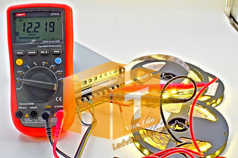 đấu điện nguồn 12v cho đèn led dây với số lượng từ 10m lé trở lên, và test cho sáng, và thành công các bước, Hướng dẫn cách cài đặt, lắp ráp, đấu nối, cắt dây led cuộn 5m sao cho an toàn, thẩm mỹ nhưng không bị hư những dãi led còn lại, ledvinhtien.com