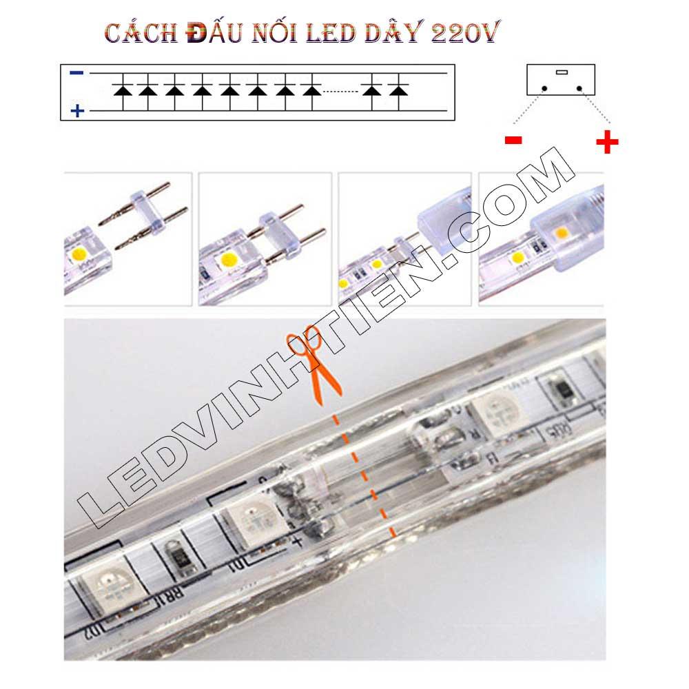 Cách nhét ghim vào dây led sao cho đúng cực âm  và dương, Bước 1: Độ căng của Đèn LED Dây ledvinhten.com Để ánh sáng của Dây LED đều khi quấn cây chúng ta thường kéo căng Dây Led, nhưng nếu kéo quá căng sẽ dẫn đến tình trạng dây led bị dãn quá mức ảnh hưởng tới mạch dẫn điện. Điều này làm cho Dây Led có thể đứt ngay lập tức hoặc giảm độ bền của dây rất nhiều. Nên khi sử dụng chú ý không được kéo quá căng Dây LED khi thi công. Đèn LED Dây Trang Trí hắt trần thạch cao Bước 2: Sử dụng đinh để cố định Đèn LED Dây ledvinhtien.com Sử dụng đinh, vít để cố định LED dây là 1 giải pháp rất hữu hiệu nhưng bạn cần chú ý nếu sử dụng đinh xuyên qua main led thì sẽ bị hỏng main và có thể dẫn đến dò điện, chập cháy. Khi thi công bạn lưu ý đóng đinh vào điểm cắt (có in hình cái kéo) phân chia Đèn LED Dây thành từng mét. Bước 3:  Tránh nước khi sử dụng LED Dây  Dây Đèn LED 220V có lớp silicon có thể chịu nước nhưng 2 đầu dây có thể bị nước mưa vào vì thân dây rỗng (giúp tản nhiệt) nên khi sử dụng cần dùng băng dính quấn chặt để tránh nước vào bên trong dây led. Đây là nguyên nhân chủ yếu dẫn đến cháy dây led ngoài trời Bước 4: Cắt dây đèn led Cách mỗi mét của dây đèn led trang trí đều có các điểm cắt. Chúng ta chỉ có thể cắt tại các điểm này, nếu cắt giữa main thì chắc chắn bạn sẽ bị cháy cả dây đèn led đó. Hình ảnh minh họa cách cắt dây led của led ledvinhtien.com. Quý khách vui lòng xem thứ tự từng tấm hình, từng công đoạn mà chúng tôi có đánh số thứ tự từng bước cài đặt led trên những tâm hình
