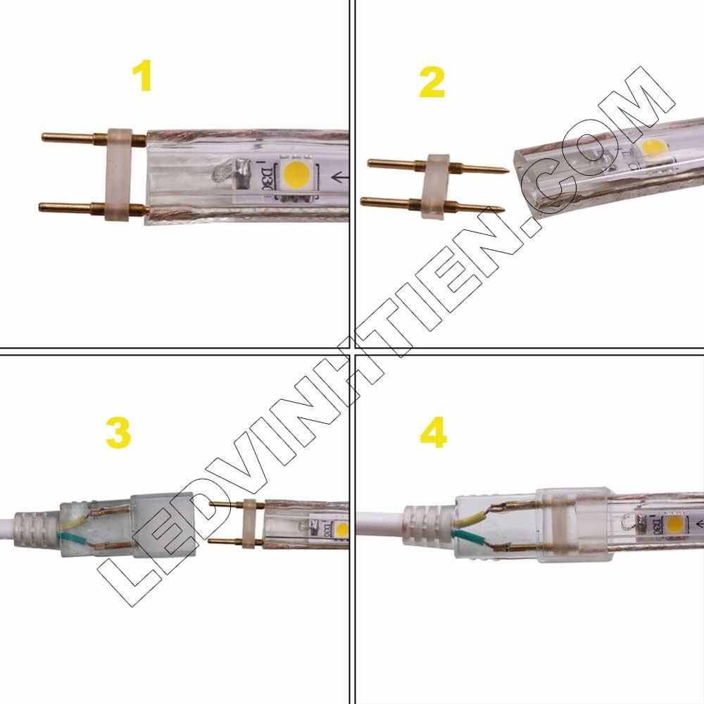 các bước chi tiết từng công đoạn. Bước 1: Độ căng của Đèn LED Dây ledvinhten.com Để ánh sáng của Dây LED đều khi quấn cây chúng ta thường kéo căng Dây Led, nhưng nếu kéo quá căng sẽ dẫn đến tình trạng dây led bị dãn quá mức ảnh hưởng tới mạch dẫn điện. Điều này làm cho Dây Led có thể đứt ngay lập tức hoặc giảm độ bền của dây rất nhiều. Nên khi sử dụng chú ý không được kéo quá căng Dây LED khi thi công. Đèn LED Dây Trang Trí hắt trần thạch cao Bước 2: Sử dụng đinh để cố định Đèn LED Dây ledvinhtien.com Sử dụng đinh, vít để cố định LED dây là 1 giải pháp rất hữu hiệu nhưng bạn cần chú ý nếu sử dụng đinh xuyên qua main led thì sẽ bị hỏng main và có thể dẫn đến dò điện, chập cháy. Khi thi công bạn lưu ý đóng đinh vào điểm cắt (có in hình cái kéo) phân chia Đèn LED Dây thành từng mét. Bước 3:  Tránh nước khi sử dụng LED Dây  Dây Đèn LED 220V có lớp silicon có thể chịu nước nhưng 2 đầu dây có thể bị nước mưa vào vì thân dây rỗng (giúp tản nhiệt) nên khi sử dụng cần dùng băng dính quấn chặt để tránh nước vào bên trong dây led. Đây là nguyên nhân chủ yếu dẫn đến cháy dây led ngoài trời Bước 4: Cắt dây đèn led Cách mỗi mét của dây đèn led trang trí đều có các điểm cắt. Chúng ta chỉ có thể cắt tại các điểm này, nếu cắt giữa main thì chắc chắn bạn sẽ bị cháy cả dây đèn led đó. Hình ảnh minh họa cách cắt dây led của led ledvinhtien.com. Quý khách vui lòng xem thứ tự từng tấm hình, từng công đoạn mà chúng tôi có đánh số thứ tự từng bước cài đặt led trên những tâm hình