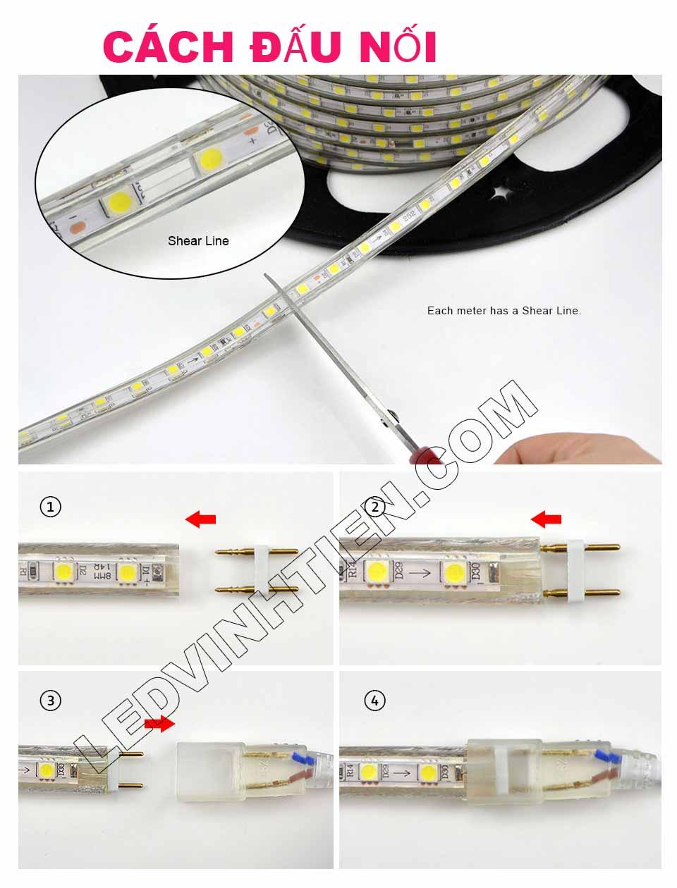 các cắt dây led cho đúng: Bước 1: Độ căng của Đèn LED Dây ledvinhten.com Để ánh sáng của Dây LED đều khi quấn cây chúng ta thường kéo căng Dây Led, nhưng nếu kéo quá căng sẽ dẫn đến tình trạng dây led bị dãn quá mức ảnh hưởng tới mạch dẫn điện. Điều này làm cho Dây Led có thể đứt ngay lập tức hoặc giảm độ bền của dây rất nhiều. Nên khi sử dụng chú ý không được kéo quá căng Dây LED khi thi công. Đèn LED Dây Trang Trí hắt trần thạch cao Bước 2: Sử dụng đinh để cố định Đèn LED Dây ledvinhtien.com Sử dụng đinh, vít để cố định LED dây là 1 giải pháp rất hữu hiệu nhưng bạn cần chú ý nếu sử dụng đinh xuyên qua main led thì sẽ bị hỏng main và có thể dẫn đến dò điện, chập cháy. Khi thi công bạn lưu ý đóng đinh vào điểm cắt (có in hình cái kéo) phân chia Đèn LED Dây thành từng mét. Bước 3:  Tránh nước khi sử dụng LED Dây  Dây Đèn LED 220V có lớp silicon có thể chịu nước nhưng 2 đầu dây có thể bị nước mưa vào vì thân dây rỗng (giúp tản nhiệt) nên khi sử dụng cần dùng băng dính quấn chặt để tránh nước vào bên trong dây led. Đây là nguyên nhân chủ yếu dẫn đến cháy dây led ngoài trời Bước 4: Cắt dây đèn led Cách mỗi mét của dây đèn led trang trí đều có các điểm cắt. Chúng ta chỉ có thể cắt tại các điểm này, nếu cắt giữa main thì chắc chắn bạn sẽ bị cháy cả dây đèn led đó. Hình ảnh minh họa cách cắt dây led của led ledvinhtien.com. Quý khách vui lòng xem thứ tự từng tấm hình, từng công đoạn mà chúng tôi có đánh số thứ tự từng bước cài đặt led trên những tâm hình