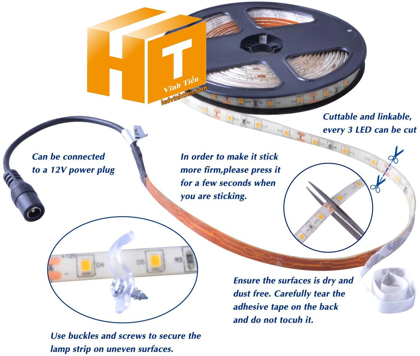 Hướng dẫn cách cài đặt, lắp ráp, đấu nối, cắt dây led cuộn 5m chip led 5054 sao cho an toàn, thẩm mỹ nhưng không bị hư những dãi led còn lại
