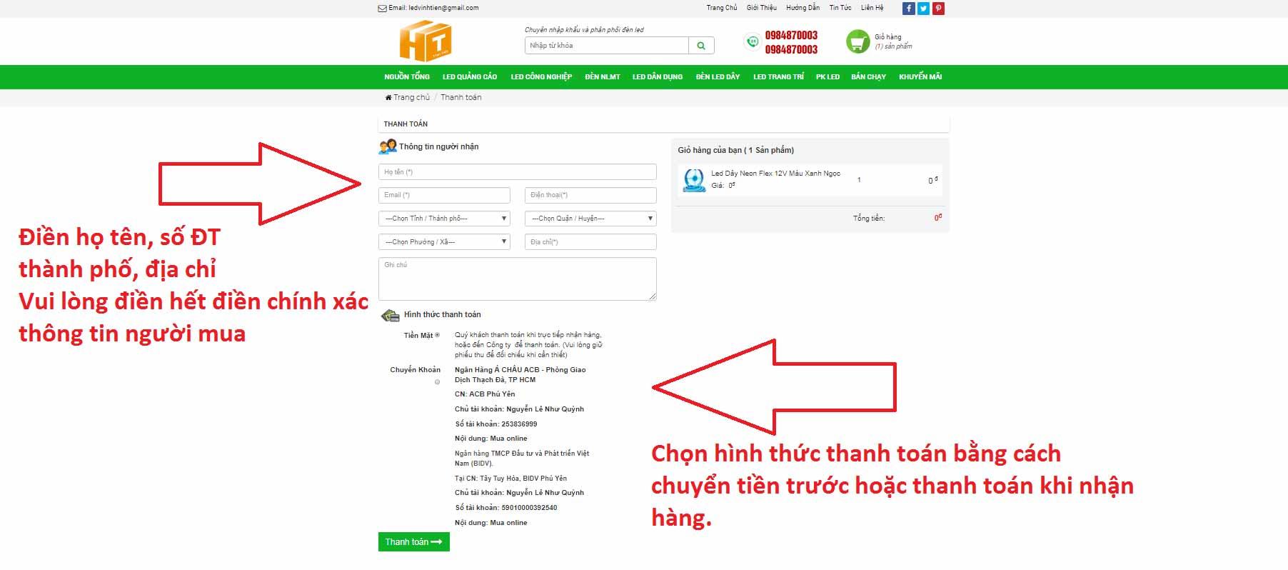 CÁCH MUA HÀNG TRÊN WEBSITE LEDVINHTIEN.COM