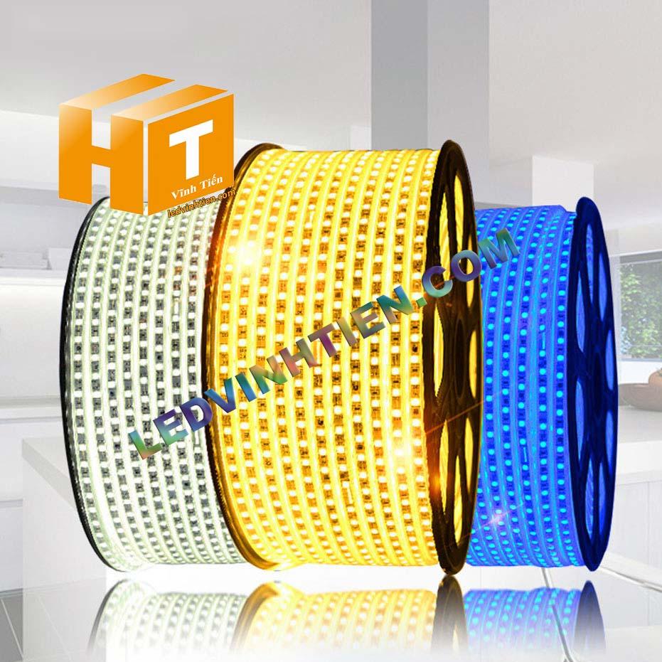 ledvinhtien.com hình ảnh chụp mọi góc cạnh của đèn led dây 220V chíp led 5050 ánh sáng màu trắng loại tốt, giá rẻ, chất lượng, siêu sáng, dùng chiếu sáng ngoài trời, hắt trần, quấn cây, trang trí nội thất, ngoại thất, chiếu sáng công viên