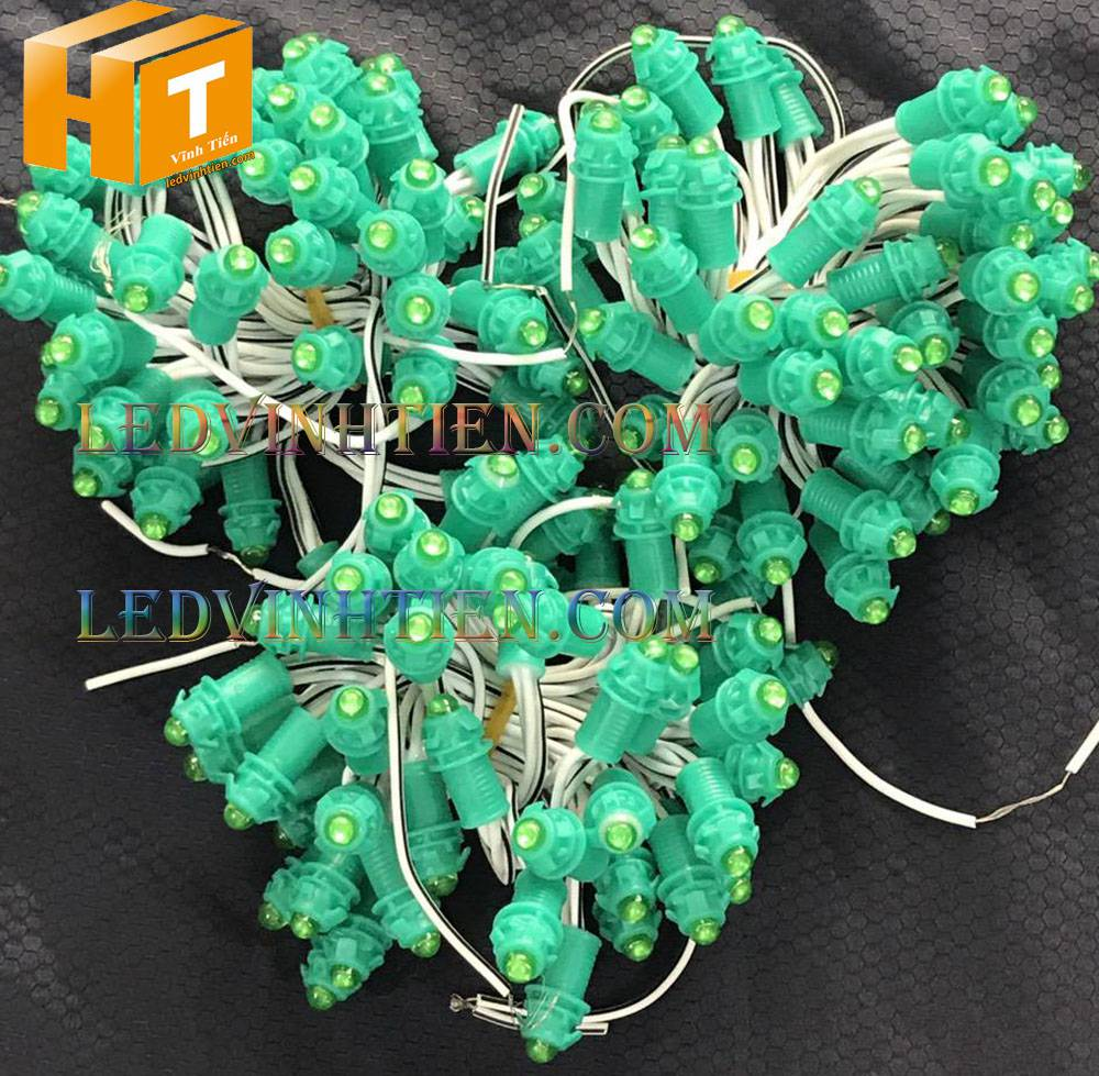Bóng led đúc F5 đế 9mm 12V đầu đục màu xanh lá, IP68, loại tốt, giá rẻ, quấn cây, chiếu sáng ngoài trời, IP68, ledvinhtien.com
