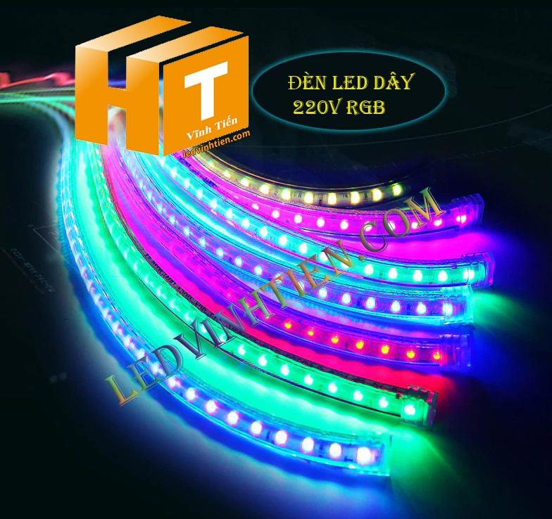 ledvinhtien.com   hình ảnh chụp mọi góc cạnh của đèn led dây 220V chíp led 5050 ánh sáng màu nhiều màu, RGB loại tốt, giá rẻ, chất lượng, siêu sáng, dùng chiếu sáng ngoài trời, hắt trần, quấn cây, trang trí nội thất, ngoại thất, chiếu sáng công viên
