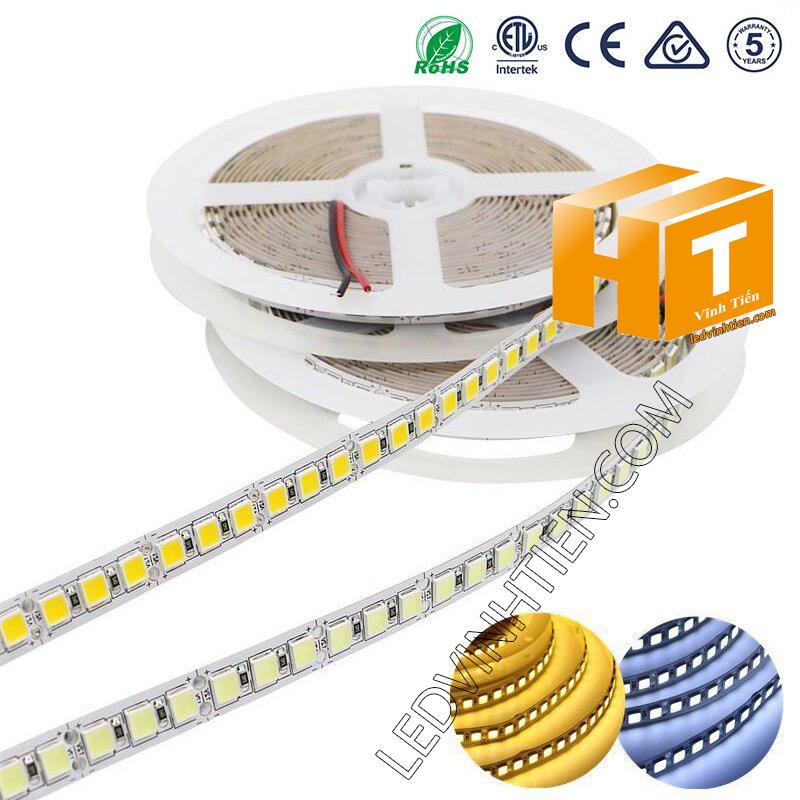 ảnh chụp nhiều góc cạnh của đèn LED DÂY DÁN chip SMD 5054 ánh sáng trắng siêu sáng là loại led dây dán cuộn dài 5m, chạy điện 12V, ledvinhtien.com