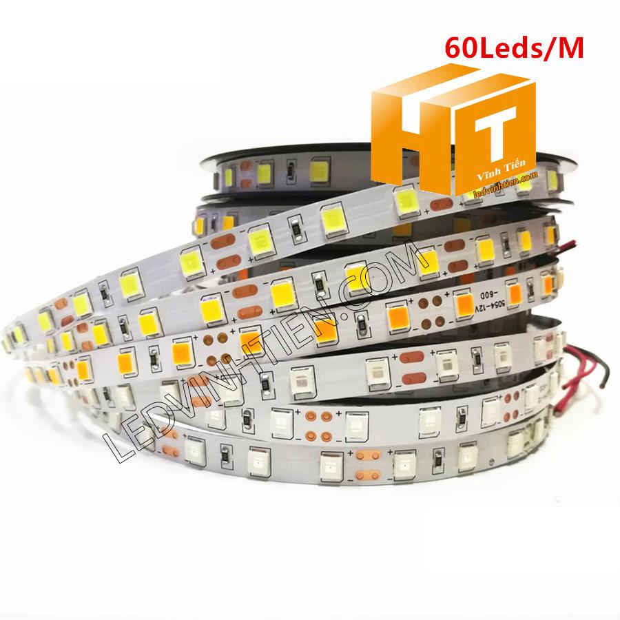 led dây không keo, LED DÂY DÁN chip SMD 5054 ánh sáng trắng siêu sáng là loại led dây dán cuộn dài 5m, chạy điện 12V, ledvinhtien.com
