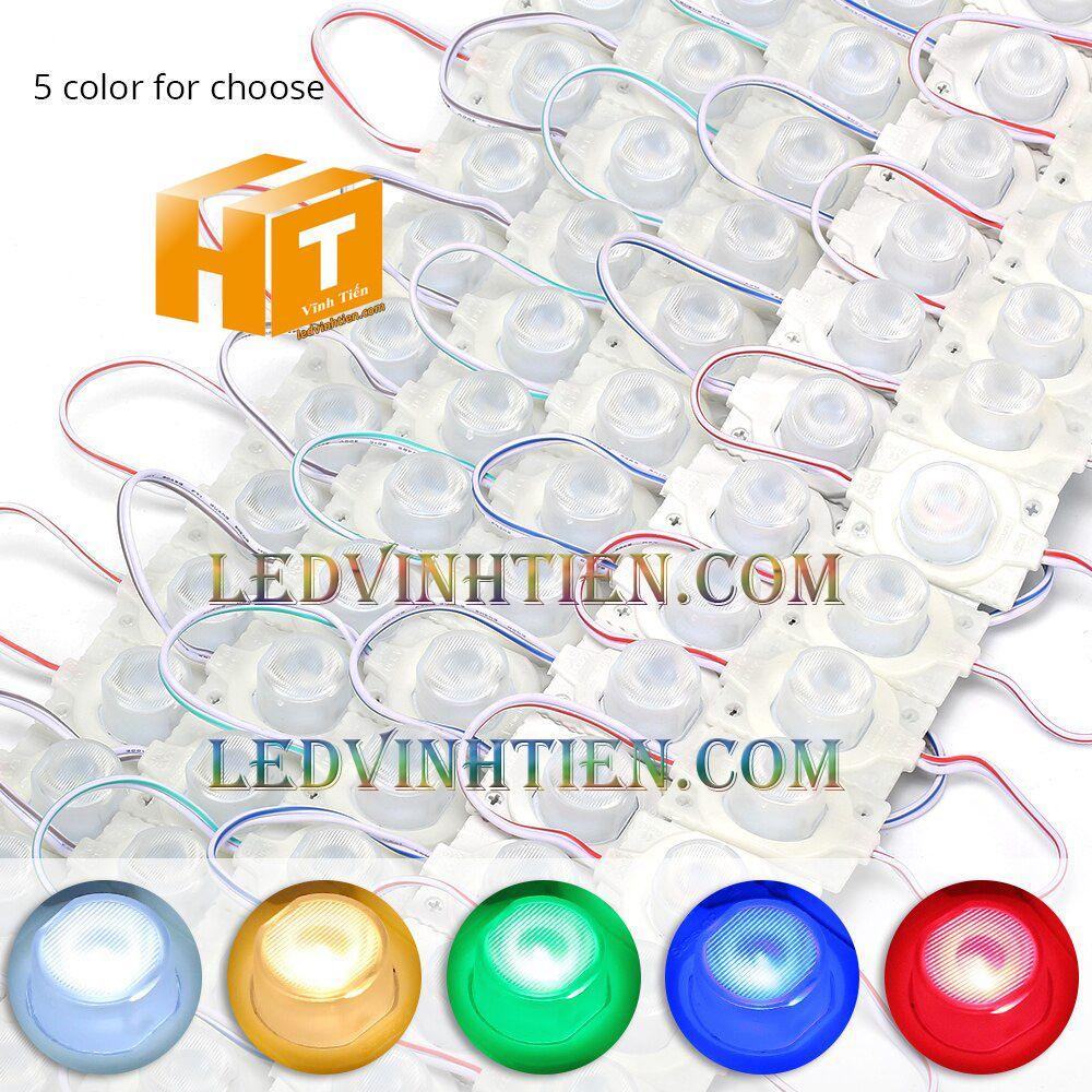 Led hắt, led module 3030 ánh sáng RGB, bảy màu 1.5W dùng điện DC12v, giá rẻ, có thấu kính, ledvinhtien.com