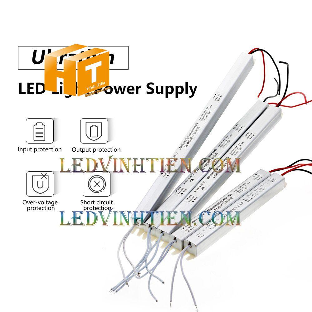 Bộ Nguồn đũa DC12V 5A 60W ngoài trời loại tốt, giá rẻ, đủ ampe dùng cấp nguồn DC cho đèn led, camera, tự động hóa