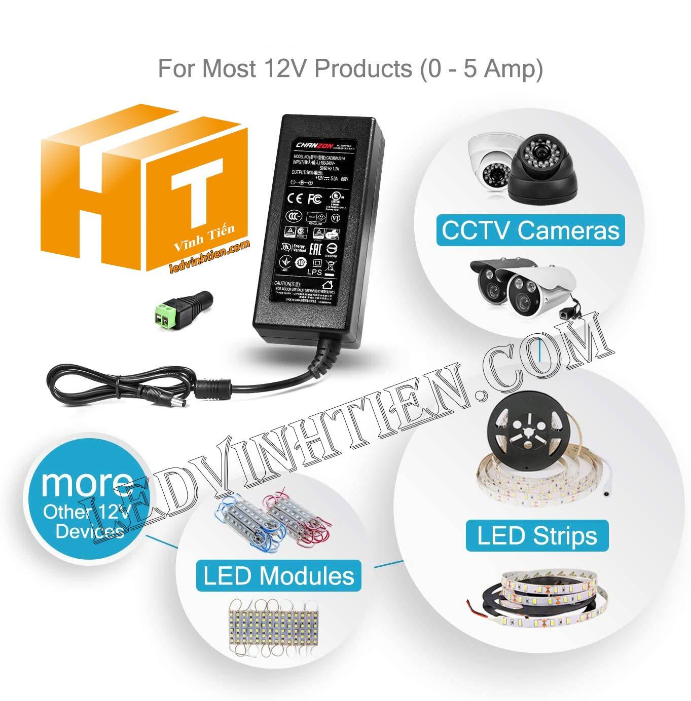 ứng  dụng của adapter 12v 10a dùng cho đèn led, camera, led hắt và các thiết bị điện tử khác