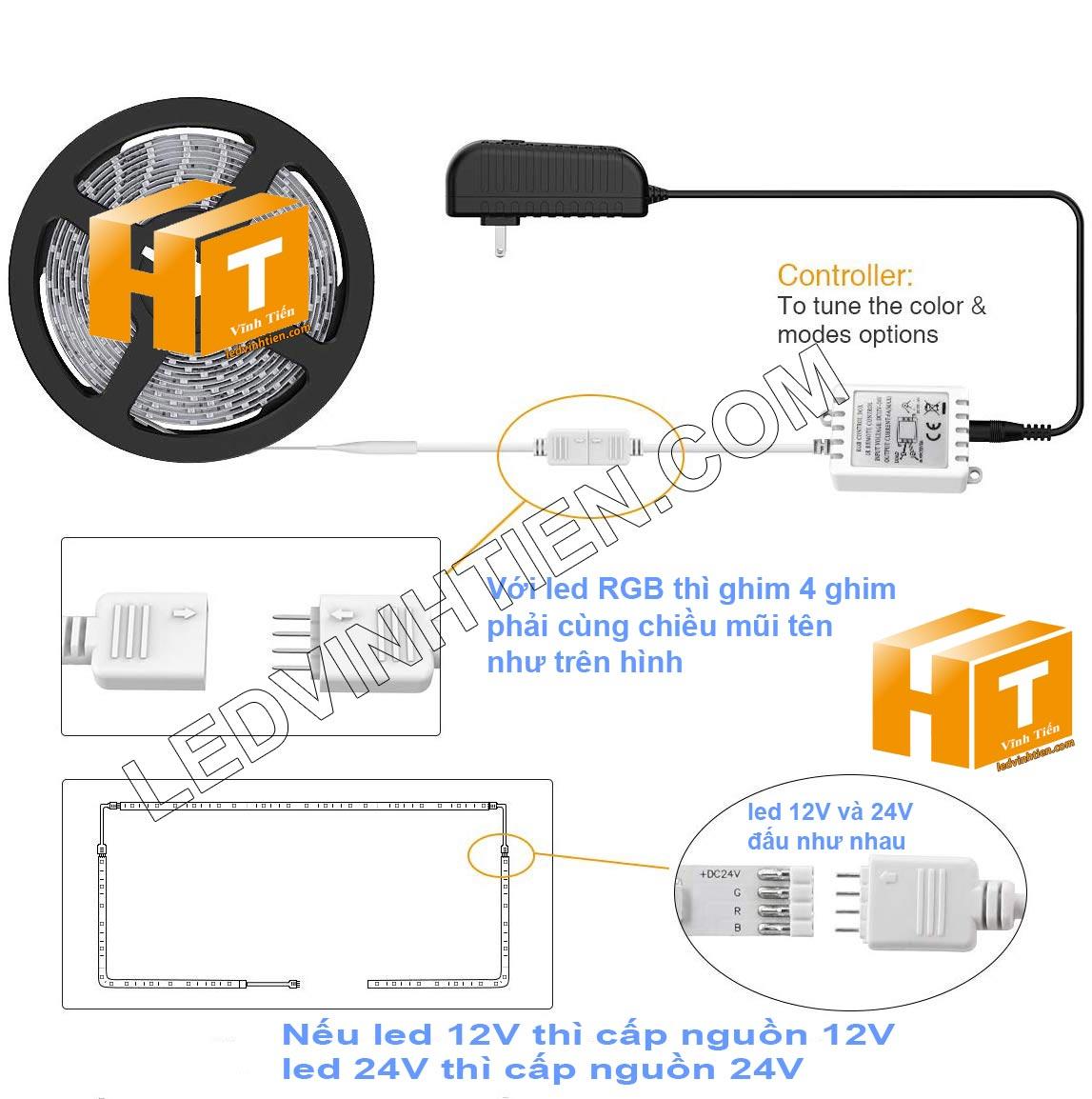 Cách đấu nối đèn led dây rgb với bộ điều khiển, và nối ghim đúng cách Hướng dẫn cách cài đặt, lắp ráp, đấu nối, cắt dây led cuộn 5m sao cho an toàn, thẩm mỹ nhưng không bị hư những dãi led còn lại