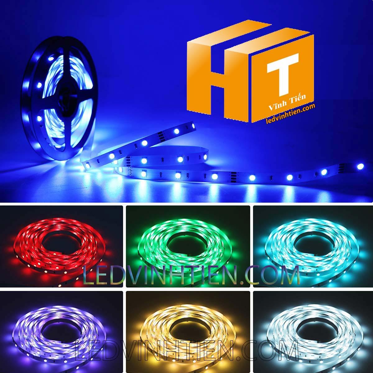 Ảnh chụp nhiều góc cạnh của đèn LED DÂY DÁN chip SMD 5054 ánh sáng màu xanh lá siêu sáng là loại led dây dán cuộn dài 5m, chạy điện 12V, dùng chiếu sáng nội thất, tủ kệ, quầy bar, bếp, hắt trần, trang trí quán cà phê, ledvinhtien.com