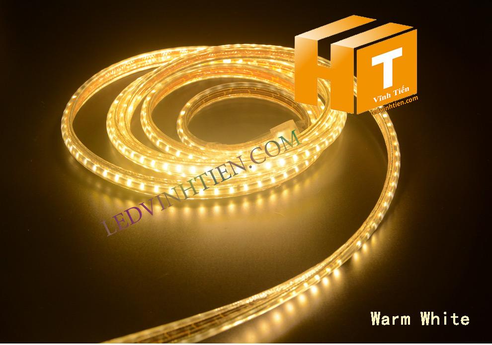 ledvinhtien.com hình ảnh chụp mọi góc cạnh của đèn led dây 220V chíp led 5050 ánh sáng màu vàng loại tốt, giá rẻ, chất lượng, siêu sáng, dùng chiếu sáng ngoài trời, hắt trần, quấn cây, trang trí nội thất, ngoại thất, chiếu sáng công viên