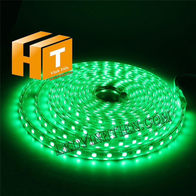ledvinhtien.com hình ảnh chụp mọi góc cạnh của đèn led dây 220V chíp led 5050 ánh sáng màu vàng loại tốt, giá rẻ, chất lượng, siêu sáng, dùng chiếu sáng ngoài trời, hắt trần, quấn cây, trang trí nội thất, ngoại thất, chiếu sáng công viên, xem thêm màu xanh lá