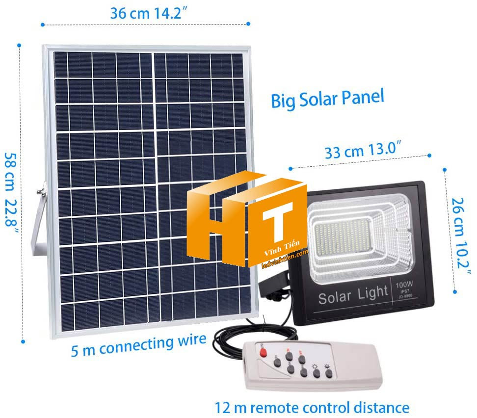 Đèn pha năng lượng mặt trời 100W (Đèn pha led năng lượng mặt trời 100W VTHT-NLMT006). sử dụng năng lượng mặt trời chiếu sáng từ 3-5 năm không lo tốn tiền điện,  hiêu JINDIAN, Thời gian chiếu sáng đến 10-12 giờ liên tục,  Đèn có tính năng tự động bật khi trời tối và tắt khi trời sáng.  Lắp đặt dễ dàng, phù hợp mọi địa hình,  Thắp sáng suốt đêm, tránh xa sự dòm ngó của trộm cắp  Kèm theo điều khiển bật/tắt từ xa và chế độ hằng giờ hiện đại giúp cuộc sống của bạn dễ dàng và tiện lợi hơn bao giờ hết.  Tấm pin công nghệ Poly, tuổi thọ lên đến 10-12 năm. Thích hợp lắp đặt trong nhà, các ki ốt, nhà hàng, trên tàu thuyền. sản phẩm đèn năng lượng dùng ngoài trời, loại tốt, giá rẻ, chất lượng, siêu sáng, cảm úng chuyển động, chính hãng ledvinhtien.com